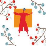 Kuvataidekoulujen liiton jouluteemainen logo.