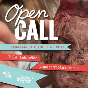 Open call -ympäristötaidekilpailun mainoskuva.