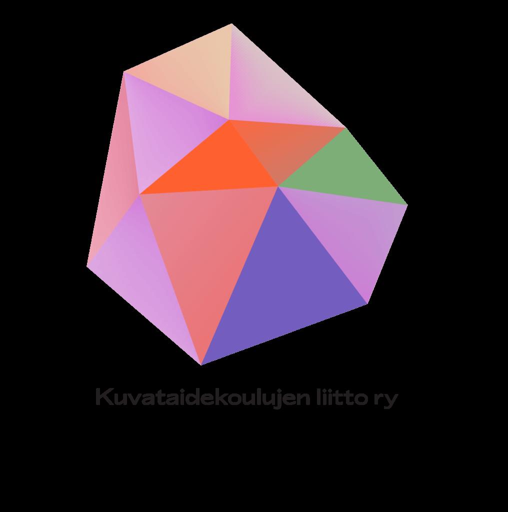Kuvataidekoulujebn liiton uusi logoelementti.