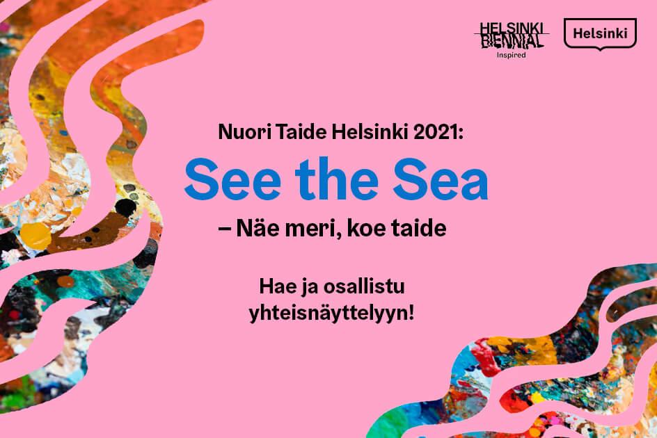 Nuori Taide Helsinki 2021 -näyttelykutsun mainos.