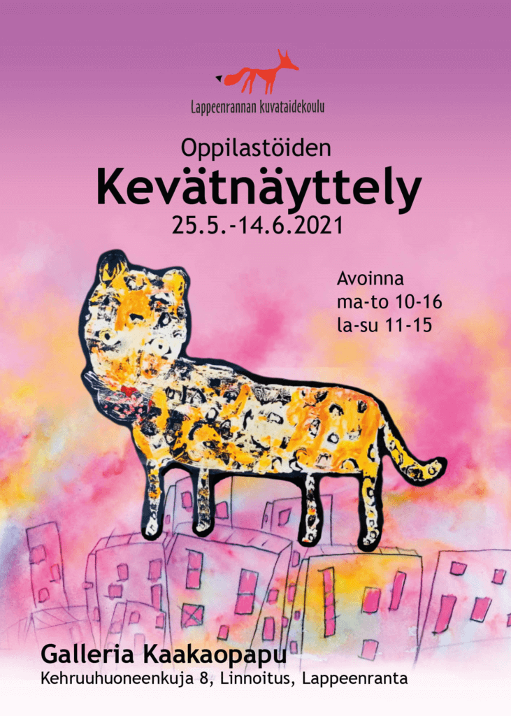 Lappeenrannan kuvataidekoulun kevätnäyttelyn 2021 juliste.